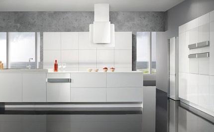 cocina blanca con diseño minimalista
