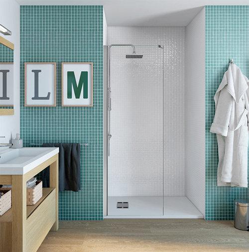 panel fijo para ducha de obra